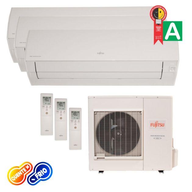 Ar Condicionado Tri Split Inverter 2x 7000 1x 9000 Btus Fujitsu Quente/Frio 220v